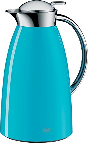 alfi Gusto Glass Vacuum Lacquered Metal Thermal Carafe for Hot and Cold Beverages, 1.0 L, Aquamarine