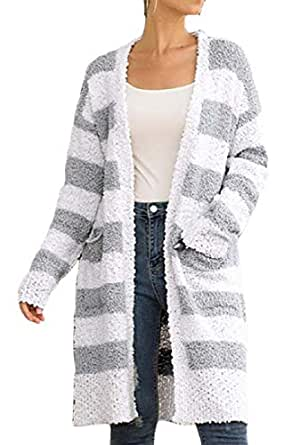 Women's Chunky Knit Blouse Sweater Open Front Cardigan Outwear with Pocket Gery XS