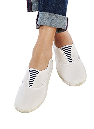 Carol Wright Cadeaux Insouciant Toile Slip-ons, Blanc, Taille 6-1 / 2 (large)