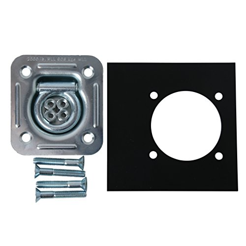 DC Cargo Mall Large Square Tie-Down D Ring Trailer Cargo Tiedown Anchor w/ Mounting Lock Plate & Installation Tie Down Hardware Accessories, Flush Mount Bolts, Keps Lockwasher Nuts, Flat Washers