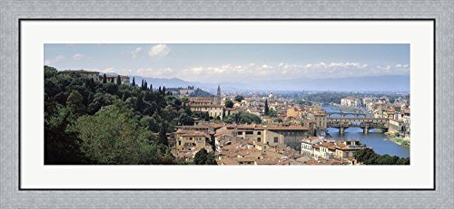 lorence, Tuscany, Italy by Panoramic Images Framed Art Print Wall Picture, Flat Silver Frame, 44 x 20 inches (Florence Framed)