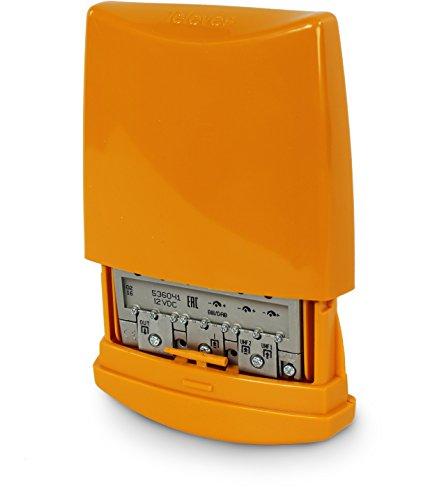Televes two-input mast-mounted amplificador y combinador, Amplificador de tres entradas  , Anaranjado, 6 x 6 x 2 inches