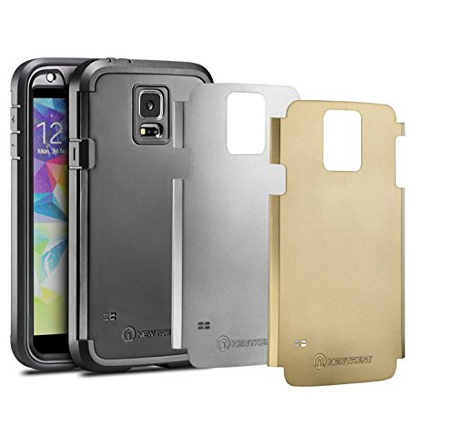 New Trent TPU Shell Polycarbonate Splash Resistant Shockproof cover with Interchangeable Back Plate for Samsung Galaxy S5 (Black/Silver/Gold)