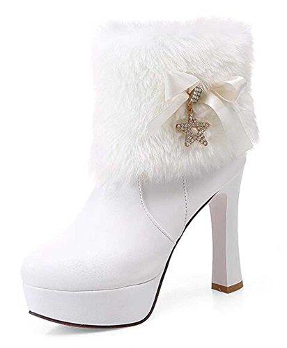 CHFSO Womens Elegant Solid Rhinestone Faux Fur Round Toe Zipper Chunky High Heel Platform Boots White VuP6diE2V