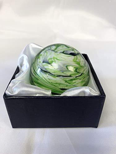 - LEONARDO Round Swirl Paperweight in Green & Dark Blue - Stunning Home Decor