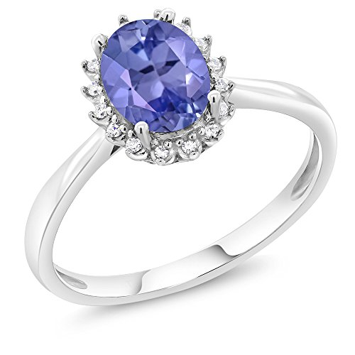 10K White Gold 1.16 Ct Oval Blue Tanzanite Engagement Ring with Diamonds (Size 9) (White Jewelry Gold Ring Tanzanite)