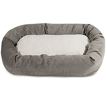 Image of 40 inch Vintage Villa Collection Sherpa Bagel Dog Bed Pet Supplies