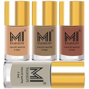 MI Fashion Truly Nudly Bundle of Soft Matte Nail Polish Paint Set of 4 Long Lasting All are Nude Colors 9.9ml each