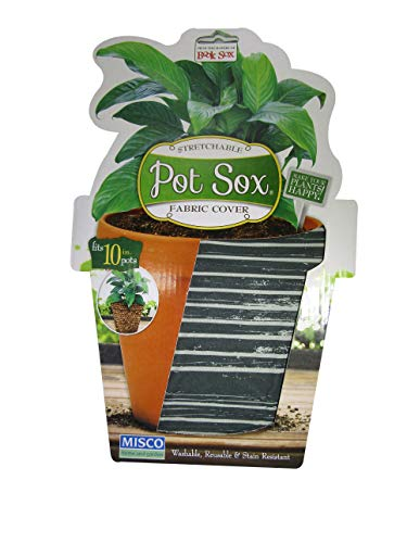 Planter Cover - Pot Sox Stretchable Fabric Planter Cover to Cover Flower Pots (10 inch, Gray Stripe)