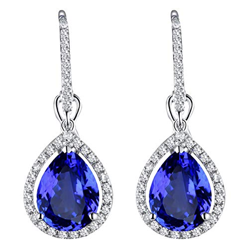 14k White Gold Natural Diamonds AAA Tanzanite ()