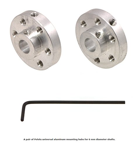 Pololu 1083 UNIVERSAL ALUMINUM MOUNTING HUB FOR 6mm SHAFT PAIR, 4-40 (Shaft Hole)