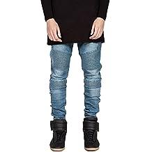 Mens Fashion Skinny Runway Distressed Slim Denim Biker Jeans Hiphop Pants 29-36