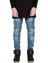 OLRIK Mens Skinny Runway Distressed Slim Denim Biker Jeans Hiphop Pants