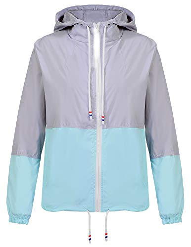 (ANGGREK Lightweight Drawstring Quick Dry Patchwork Running Rain Jackets for Women Blue S)