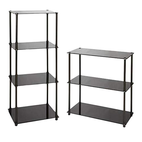 Convenience Concepts Classic Glass 2 Piece Classic Glass Tier Tower Bookcase Set in Black