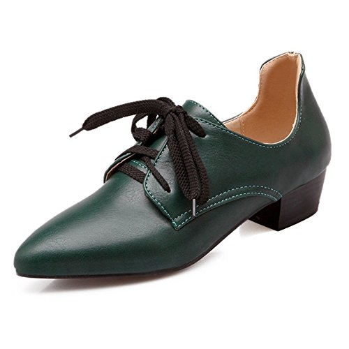 LongFengMa Women's Pointed Toe Square Heel Lace Up Pumps Casual Shallow Shoes Green YuePMxXjI