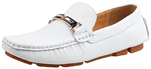 SKOEX Men's Leather Loafers Slip On Boat Driving Shoes US size 10 White