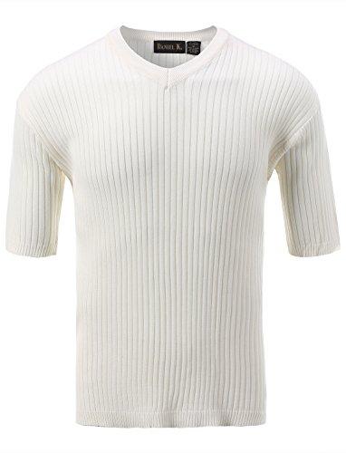 7Encounter Men's V Neck Short Sleeve Large Ribbed Sweater Cream XL ()