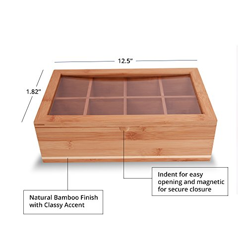 Everything Bamboo Wooden Tea Bag, Condiment or Small Accessories Storage Organizer Caddy with Clear Lid & 8 Compartments by Everything Bamboo (Image #1)