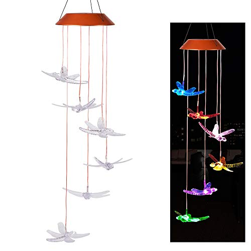 CXFF Changing Color Dragonfly Solar Wind Chimes,LED Waterproof Solar Powered Wind Chime Portable Outdoor Decorative Romantic Windbell Light for Night Patio,Deck,Yard,Garden,Home,Party,Festival Decor