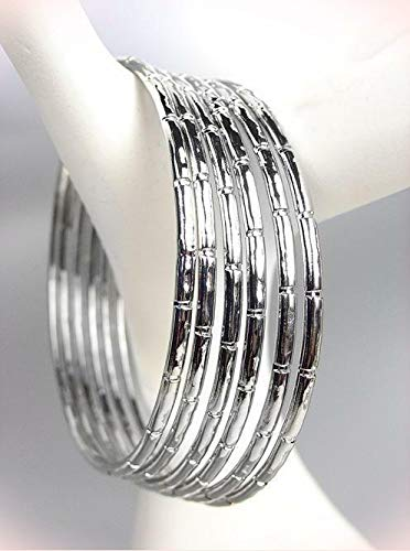 - Chic 6 Pc Silver Bracelet Metal Bamboo Motif Plus Size Bangle Bracelets For Womens