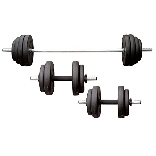 Suny Vinyl Barbell/Dumbbell Set, 100 - Set Weighted Barbell