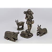 8 Inch Shepherd Boy with Animals Bronze Finish Figurines, Set of 5