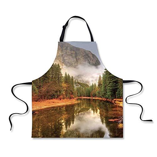 iPrint Cooking Apron,Yosemite,Trees Reflections on Merced Ri