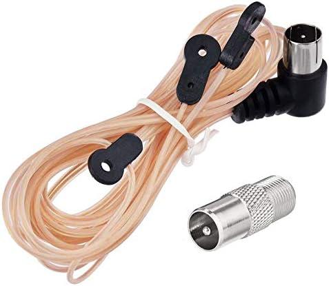 Eightwood FM Antena Radio 75ohm dipolo Adaptador F Unbal Antena de señal Interior Sintonizador Y Compatible para Radio Am Yamaha Sony Bose Sherwood ...