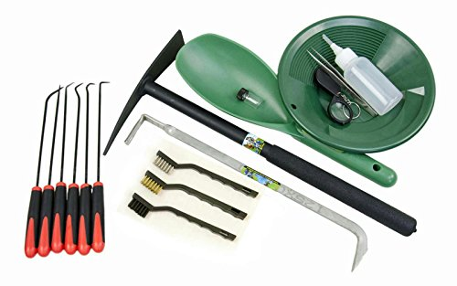 Gold Rush Special 17 Pc Crevice Tool & Green Gold Panning-Mining Kit