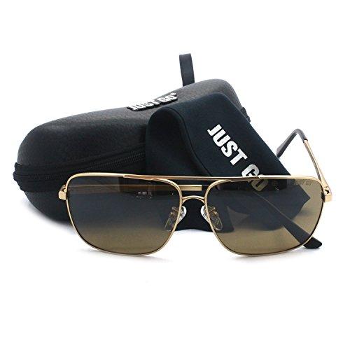 JUST GO Premium Military Style Classic Rectangle Aviator Sunglasses Polarized and 100% UV protection, Gold, - Classic Sunglasses Zoom