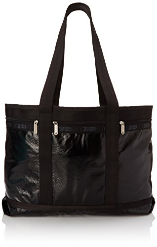 LeSportsac Travel Tote Bag, Black Crinkle Patent, One Size