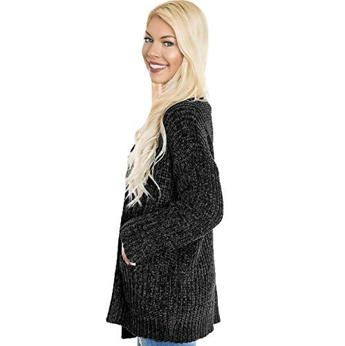 L De Mujeres Acogedor Frente Hecho Suéter Las Bolsillos De De La Black Punto Cardigans De Abierto SUNMIYA Estupendo Capa Upqwwg