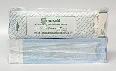 "Emerald 2349 2-3/4"" x 9"" Self-Sealing Sterilization Pouches Autoclave Bags 200 per box (2 Pack)"