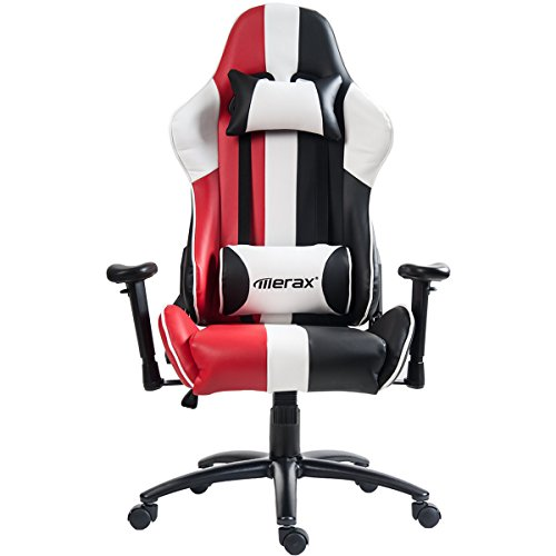 Merax Justice Series Racing Style Gaming Chair Ergonomic High Back PU Leather (Red)