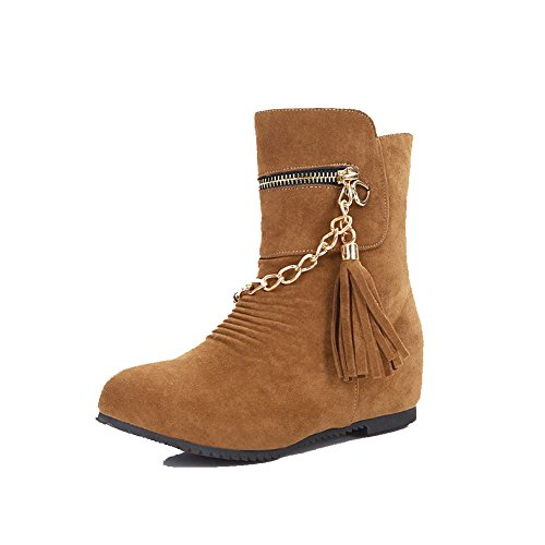 AgooLar Women's Low-top Solid Pull-on Closed Round Toe Kitten-Heels Boots Brown NBfWGQ2N