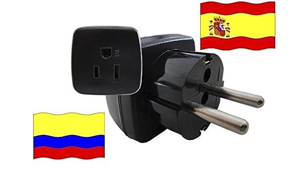 Adaptador de Viaje a España de Colombia ES-CO Enchufe de Viaje (Protección de Contacto, 2200 Vatios): Amazon.es: Bricolaje y herramientas