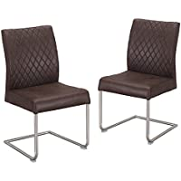 Adeco Luxury Modern Pu Leather Cushion Seat Dining Chair with Chrome Legs, Set of 2 (Brown II)
