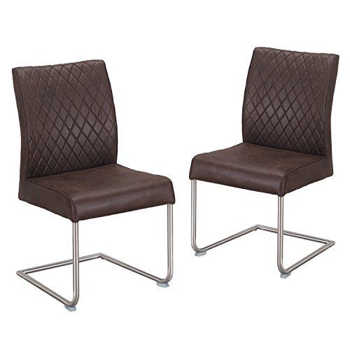 Adeco CH0433-2 Cushion Seat Dining Chrome Legs Chair