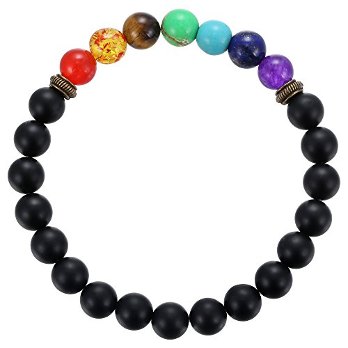 BRCbeads Gemstone Bracelets Matte Black Onyx Rainbow Enhance Color Natural Birthstone Handmade Healing Power Crystal Beads Elastic Stretch 8mm 7.5 Inch with Gift Box Unisex -