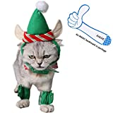 ANIAC Cute Cat Dog Christmas Costume Xmas Clothes Green Elf Outfit for Small Pets Larger Image