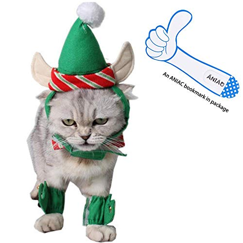 ANIAC Cute Cat Dog Christmas Costume Xmas Clothes Green Elf Outfit for Small -