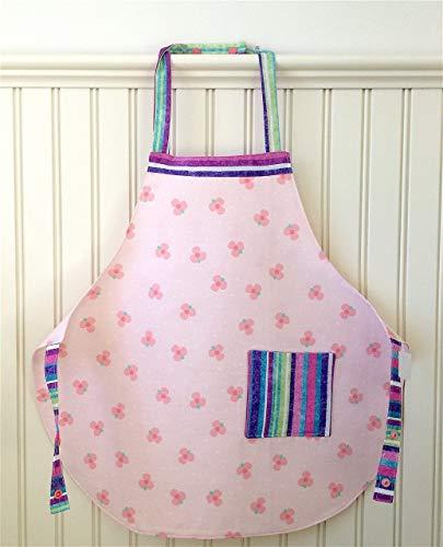 Child Apron Handmade Reversible 2 Pocket LinedPink Posies and Stripes