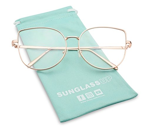 a3b7d09ab568c Women s Sexy Extra High Pointed Cat Eye Flat Clear Lens Glasses Round (Rose  Gold