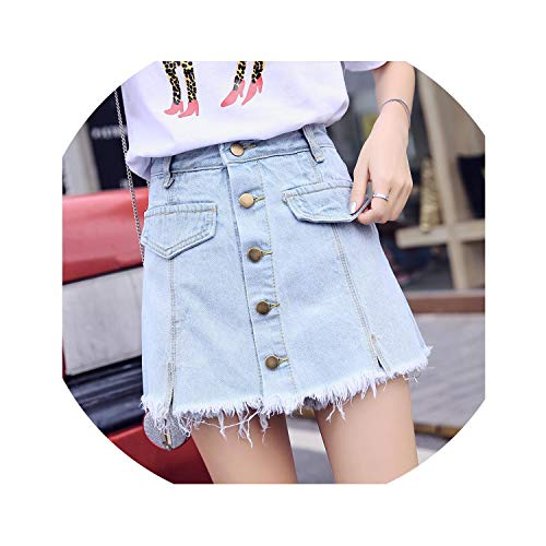 (Denim Shorts Women 2019 Summer High Waist Skorts Skirts Slim Blue Short Jeans Vintage Short,Sky Blue,XL)