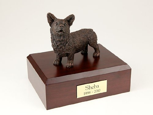 GENUINE North American Hardwood and Bronze Welsh Corgi Dog Pet Urn Small TR200-463 by Ever My Pet