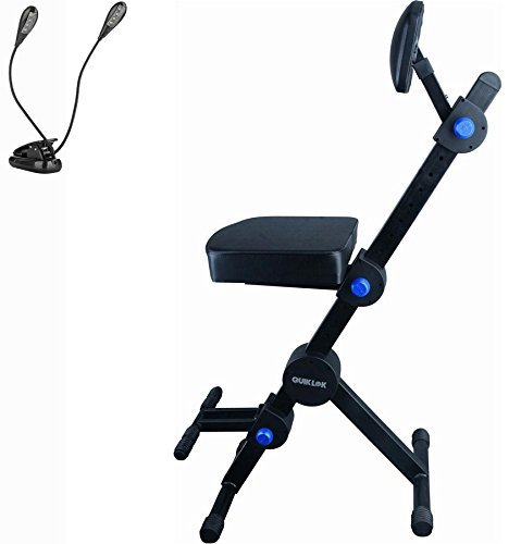 Quik Lok Guitar / Keyboard Performer and DJ Deluxe Seat w/ Padded Adjustable Backrest w/ Ivation Music Clip Light