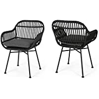 2-Pack Christopher Knight Home Orlando Outdoor Woven Faux Rattan Chairs with Cushions