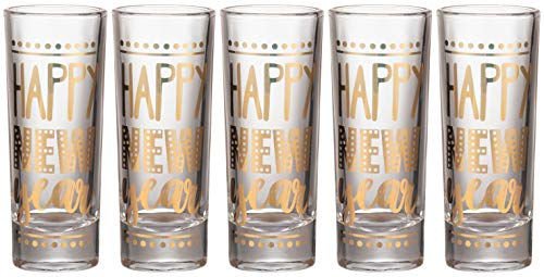 Party Shot Glasses - 5-Pack Happy New Year Shot Glasses Gift Set, Gold Foil Print, Holiday Year-End Party Supplies, 2-Ounce Capacity -