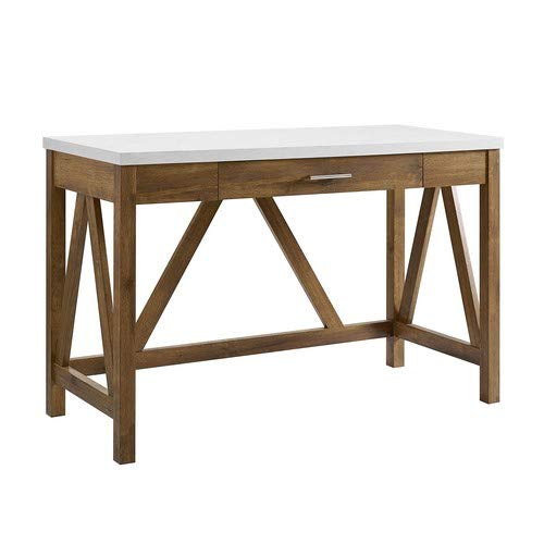 (WE Furniture AZW46AFWMB Desk, Natural Walnut/White Marble )